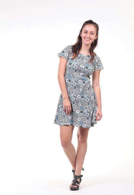 Dahlia Flower Mandala Print Cap Sleeve Key Hole Back Mini Dress