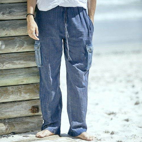 Richie Cotton Stonewash Cargo Pants Striped & Solid
