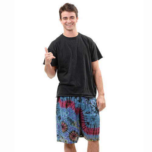 Solar Rayon Men's Shorts With Elastic Waist Mudmee Tie Dye