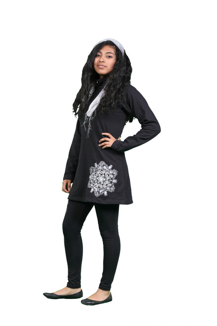 Misty Cotton Fleece Tunic With Detailed Mandala Embroidery