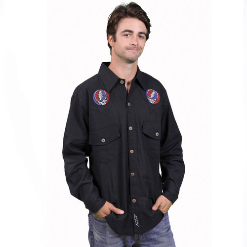 Stagger Lee Cotton Button Up Shirt With SYF & Bolt Embroidery