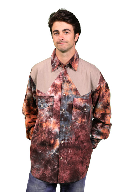 Fillmore Cotton Tie Dye & Solid Cowboy Style Long Sleeve Shirt