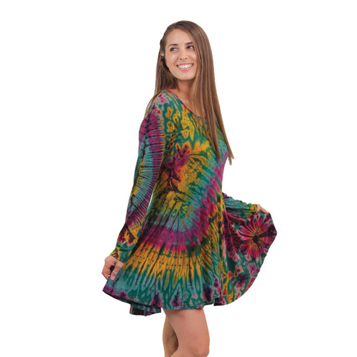 Swing Dress: Rayon Spandex Mudmee Tie Dye Long Sleeve Dress