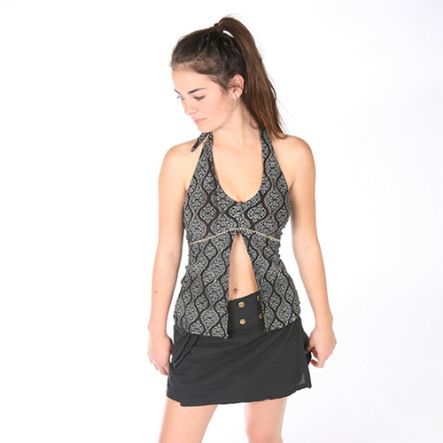 BEATRICE TOP- Cotton\Lycra Split Front Halter Top With Hand Stitching