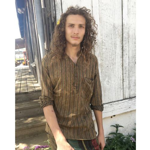 GEORGE SHIRT Cotton Stonewashed Nepali Striped Long Sleeve Shirt