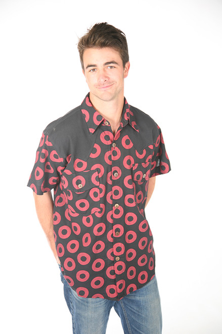TREY SHIRT- Cotton Men's Donut Print Button Up Shirt