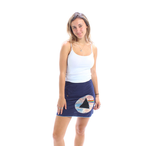 Cotton Lycra Mini Skirt with Pocket and Dark Side of the Moon Logo