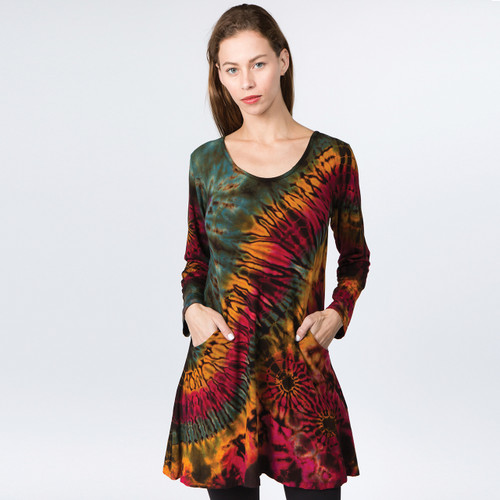 MARLEY DRESS - Rayon Spandex Tie Dye Hooded Mini Dress With Pockets