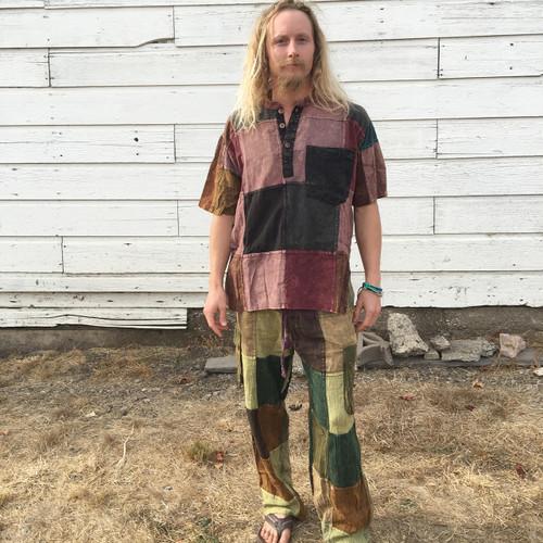 Men's Cotton Stonewash Short Sleeve Patchwork Kurtha With Three Buttons