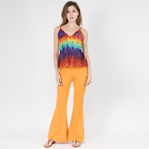 MISSY TOP - Cotton Rainbow Tie Dye Tiered Spaghetti Strap Top