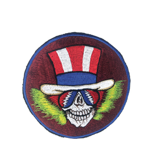 Medium Embroidered Patch Skull with American Flag Hat (6 inches)