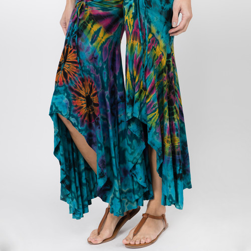 LIBBY PANTS - Rayon Spandex Hi-Lo Ruffle Cinch Pants-Mudmee