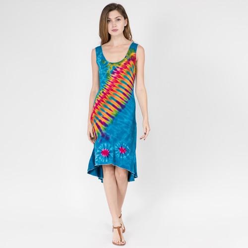 RHONDA DRESS - Rayon Spandex Hi-Lo Razor Cut Tank Short Dress-Mudmee
