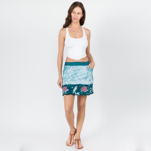 HIGH TIME SKIRT - Cotton Lycra Batik Mini Skirt With Pockets & Bear or Rose Design