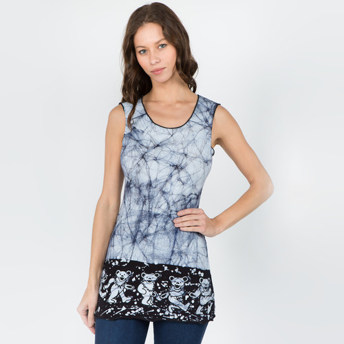 JUST A LITTLE LIGHT TOP - Cotton Lycra Batik Long Tank Top