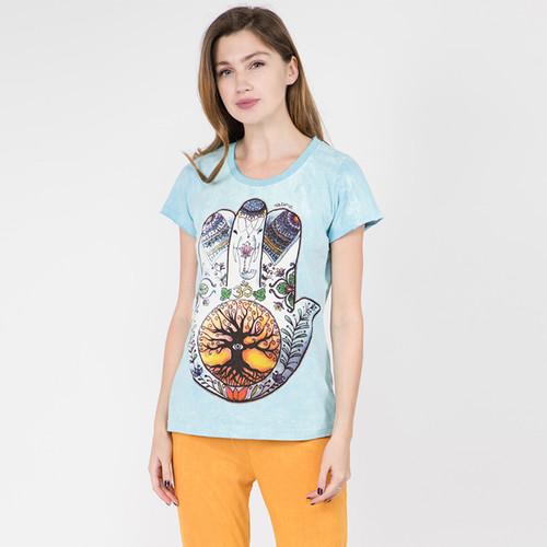 WOMEN'S HAMSA HAND TOP Sky Blue Cotton No Time T-Shirt