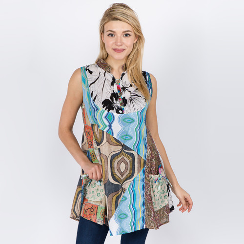 HILARY TOP Cotton Patchwork Flowy Tank Style Top with Pockets