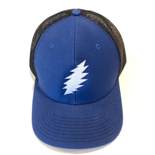 Embroidered Bolt Snapback Hat- Royal Blue with Black Mesh