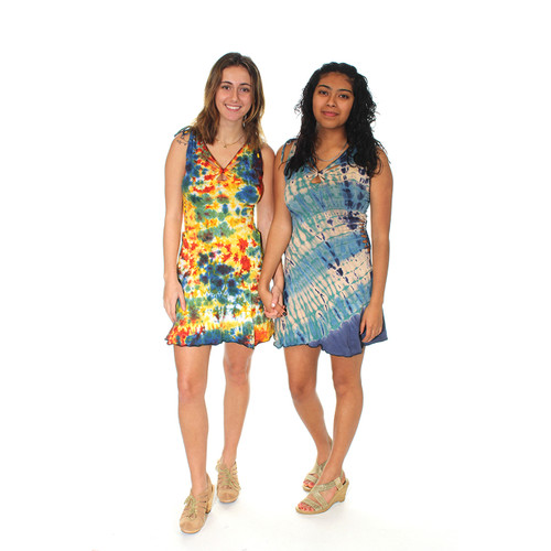 HARMONY DRESS Cotton Lycra Tie Dye Razor Cut & Side Braid Mini Dress w/ Cinch Shoulder