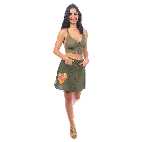 LOVE PEACE SKIRT Cotton Snap Up Mini Skirt w/ Embroidery