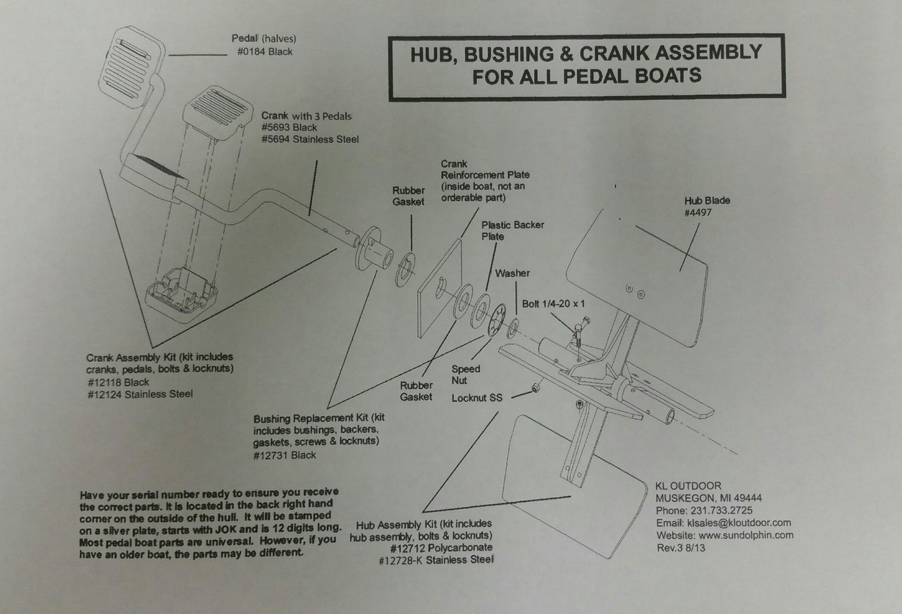 Sundolphin Pedalboat Schematic - Rudder and Steering Parts List - TG