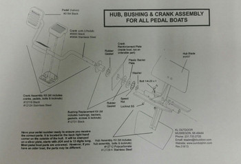 Sundolphin Pedalboat Schematic - Rudder and Steering Parts List