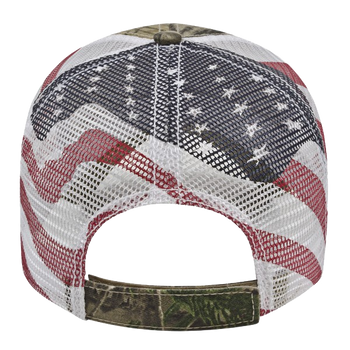 "STM ""Real-Tree"" licensed American Flag  Mesh Back Trucker Cap"