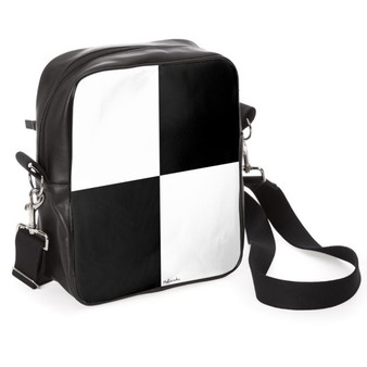 Black and white leather messenger bag
