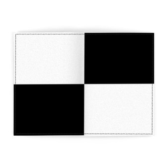Black and white leather passport cover