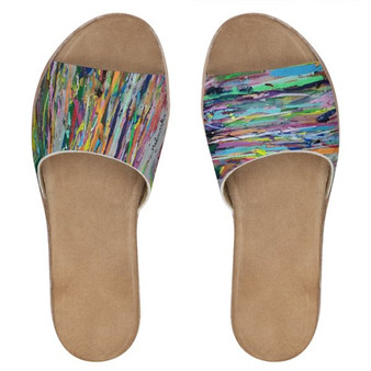 Colourful Printed leather slides by Melsinki