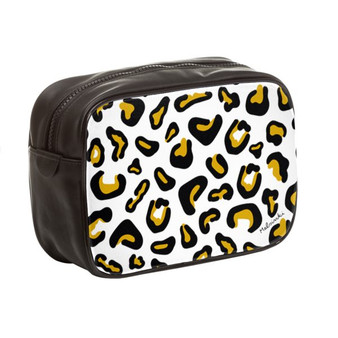 leopard print leather toiletry bag
