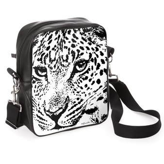Panther print leather messenger bag