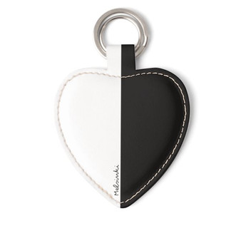 black and white leather heart keyring