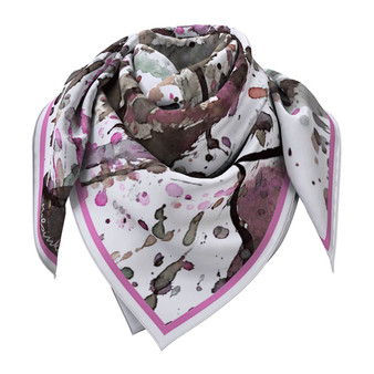 White Abstract Silk Scarf with splash pattern 90 x 90 cmcm