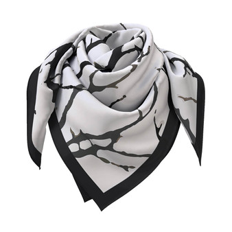 When The Leaves Go Silk scarf in black and white, 90 x 90 cm