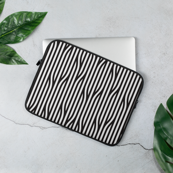 Black and white graphic 13 inch laptop sleeve