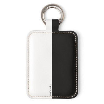 black and white leather keyring