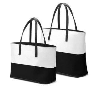 Black and white leather tote bags by Melsinki