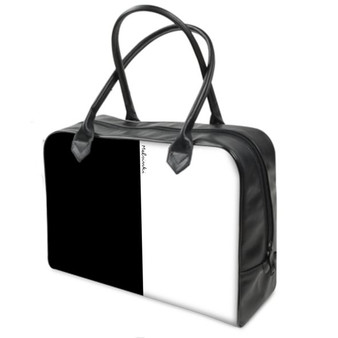 Black and white leather holdall bag by Melsinki