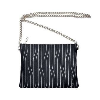 black leather clutch bag with chain