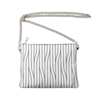 white leather clutch bag with chain