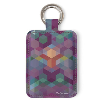 printed leather keyring