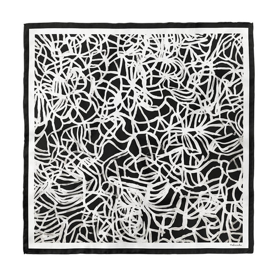Black and white abstract scarf Fields by Melsinki