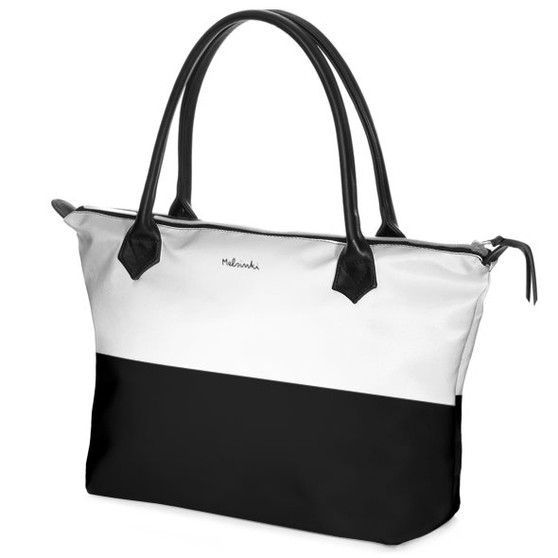 black and white leather handbag with zipper