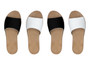 Black and white mix and match sandals