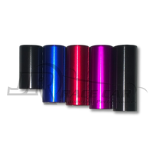 Left to Right: Stock Black, Blue, Red, Purple, Long Black