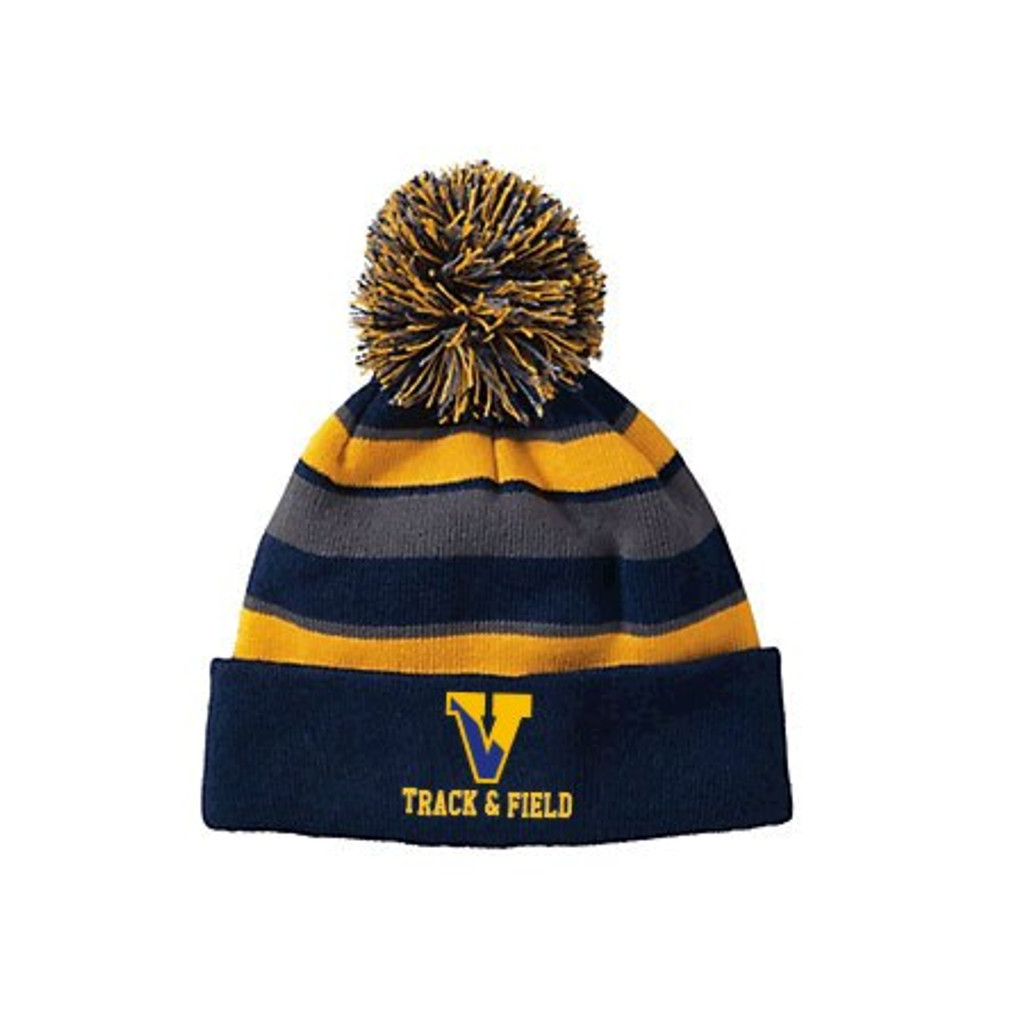 Winter knit hat, tri-colored, with pom pom/ Embroidered Victor Track