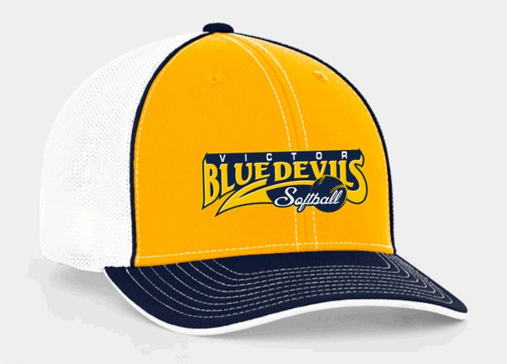 Flexfit Baseball hat, Gold w/ piping & embroidered Victor Softball logo