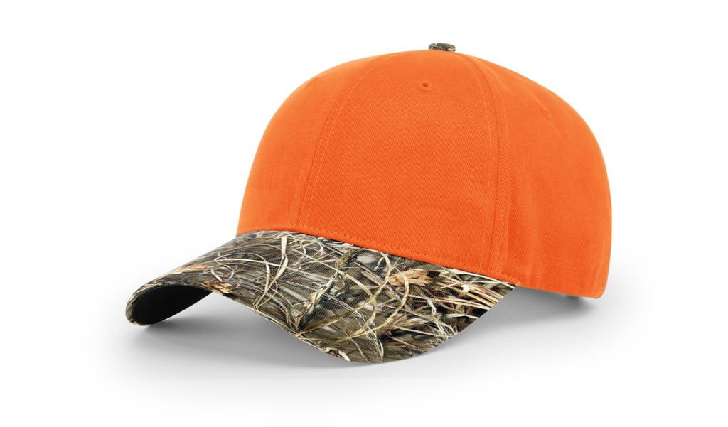 Richardson #883 Blaze Orange Crown/Camo visor Adjustable Hat