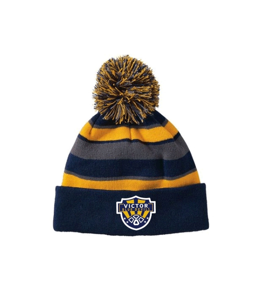 Winter Knit Hat,  with Pom Pom and Embroidered Logo VSOCCER